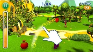 Picture from the Fanta Fruit Slam 2 app game, with scores displayed as a thermometre full of soft drink. Taken from: http://www.smh.com.au/nsw/cocacola-reprimanded-over-fanta-ad-that-targets-children-20150714-gibxrs.html