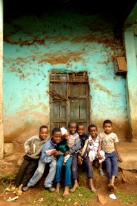 N0032285 Group portrait of seven boys, Ethiopia