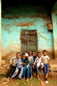 N0032285 Group portrait of seven boys, Ethiopia