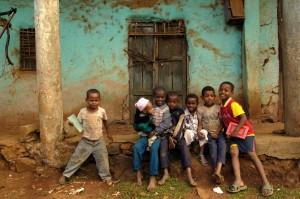 N0032286 Group portrait of seven boys, Ethiopia