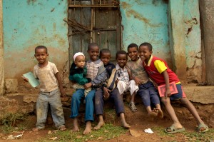 N0032287 Group portrait of seven boys, Ethiopia
